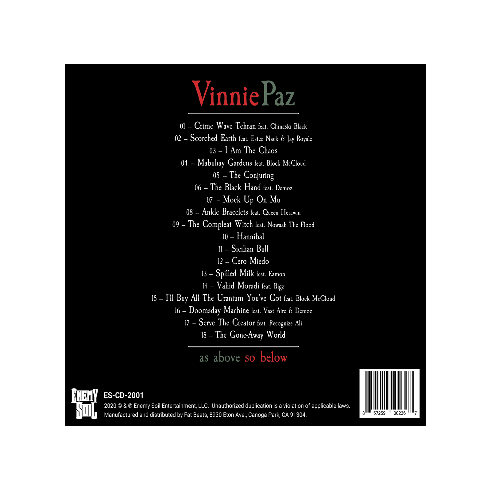 Vinnie Paz - As Above So Below - Gatefold 2LP