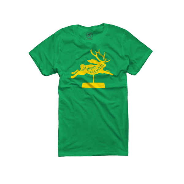 Jackalope on Fitted Kelly Green T-Shirt