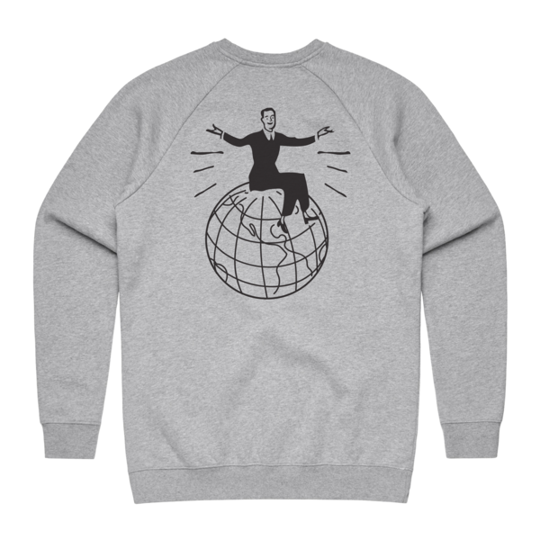 Globe on Heather Grey Crewneck