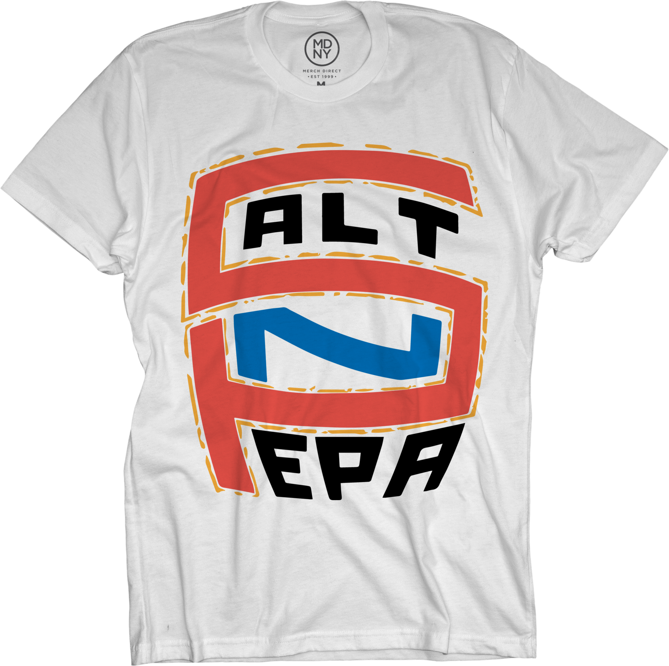 Red & Blue Logo on White T-Shirt