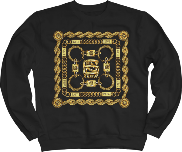 Gold Links Black Crew Neck