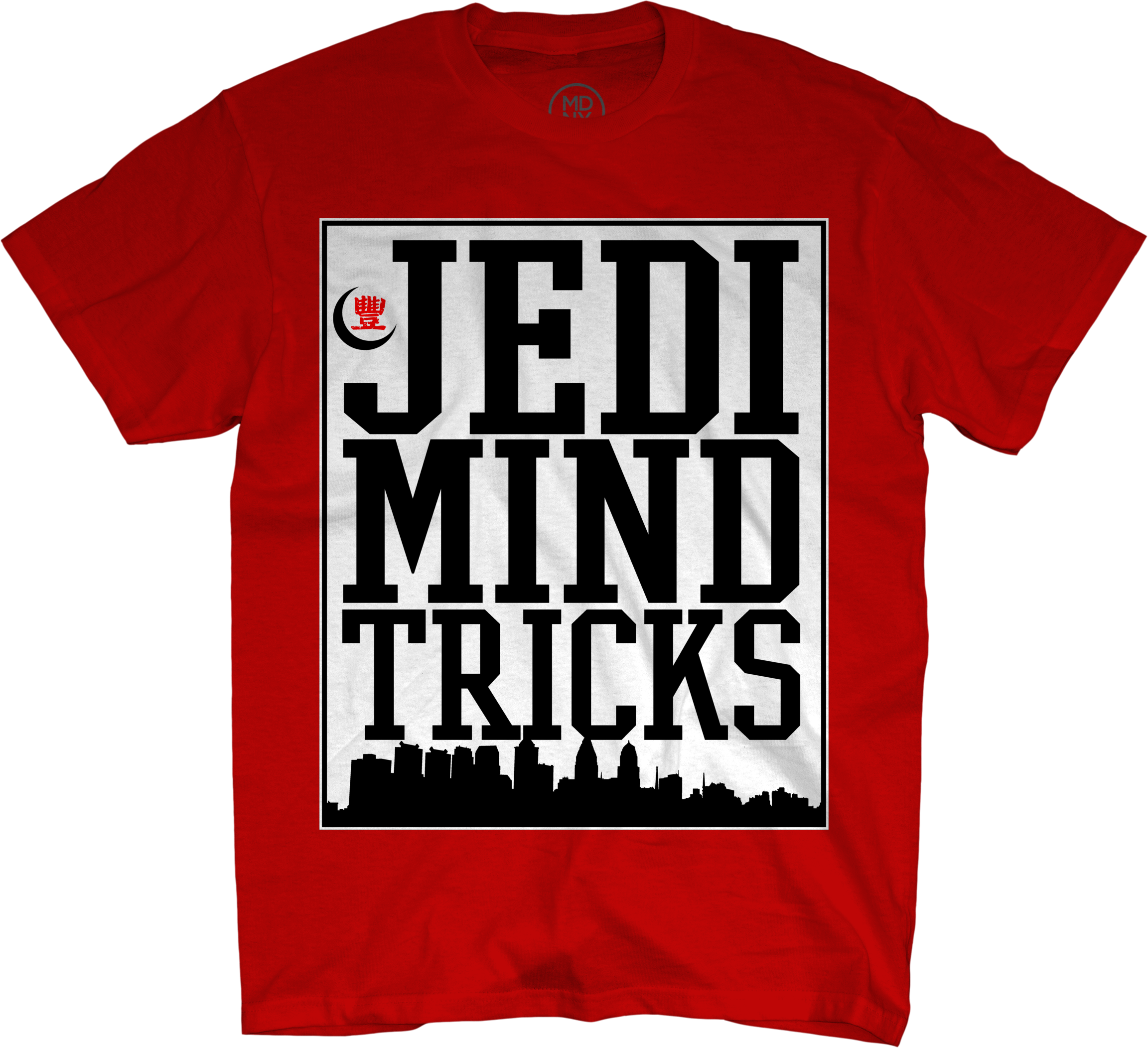 City Skyline on Red - T-Shirt
