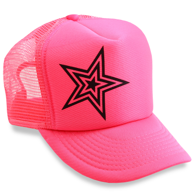Dirty Couture - Neon Pink with Black Star Trucker Hat 7fcbc976e9f